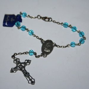 Vintage blue crystal and silver rosary bracelet